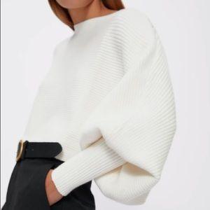 NWT ZARA Knit Loose-fit Cropped Sweater Ecru M